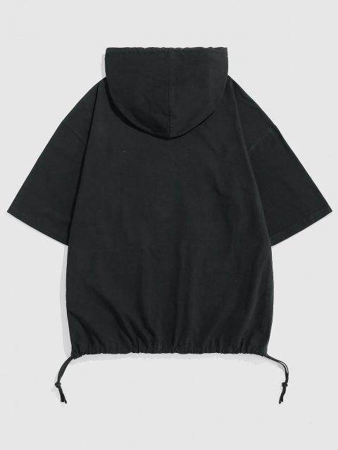 new ZAFUL Plain Drop Shoulder Half Sleeves Hoodie - BLACK XXL Mobile