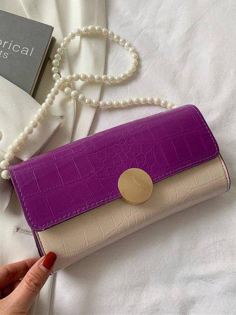 Künstliche Perle Gurt Geprägte Farbblock Umhängetasche - Tyrianisches Lila  Mobile
