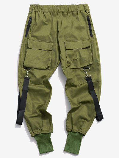 Multi Pockets Casual Cargo Pants - Deep Green S