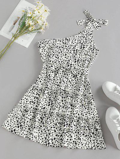 ZAFUL Leopard One Shoulder Flounce Layered Dress - White M