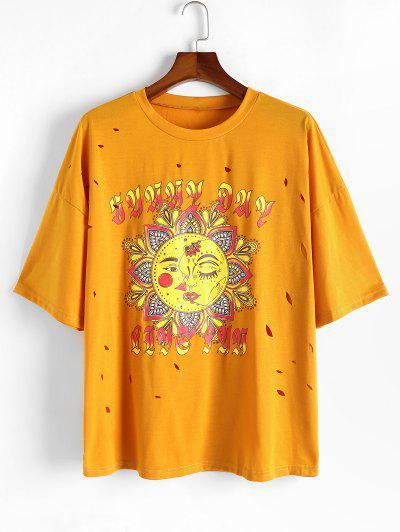 ZAFUL T-shirt Déchiré Fleur Soleil Imprimés à Goutte Epaule De Grande Taille - Jaune 5xl