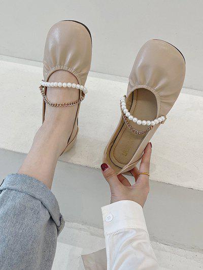 Runde Zehe Künstliche Perle Kette Flache Schuhe - Licht Khaki Eu 40