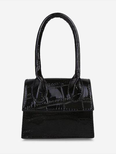 Chain Mini Textured Crossbody Bag - Black