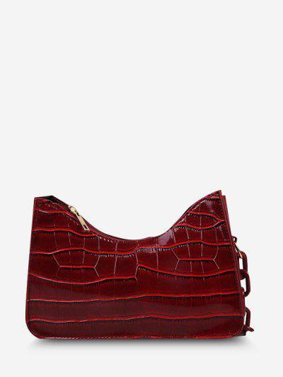 Solid Half-Chain Strap Embossed Shoulder Bag - Red
