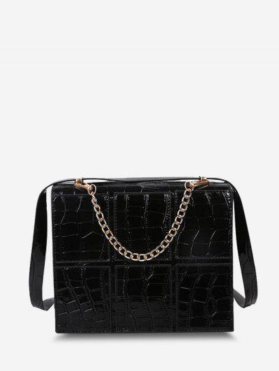 Square Embossed Spliced Chain Crossbody Bag - Black