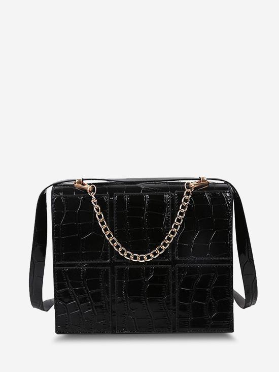 Square Embossed Spliced Chain Crossbody Bag