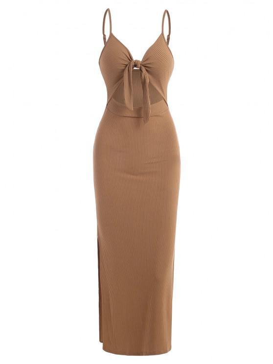 women Ribbed Knot Cutout Split Side Slinky Maxi Dress - COFFEE S