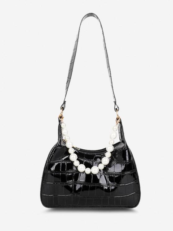 Einfarbige Künstliche Perle Geprägte Umhängetasche - Schwarz
