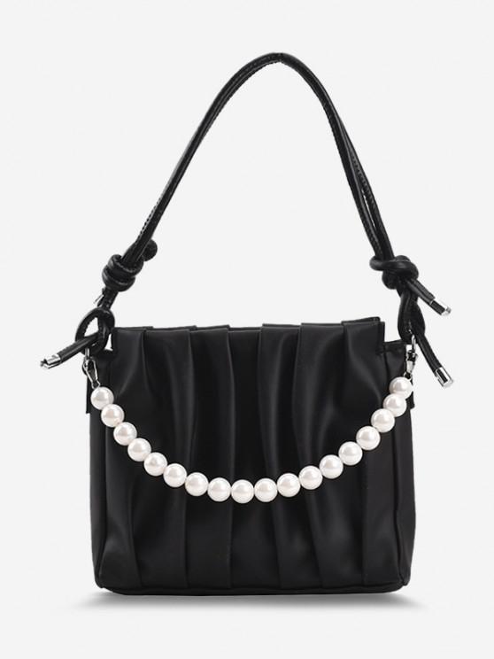 Verknotetes Künstliche Perlen Kette Umhängetasche - Schwarz
