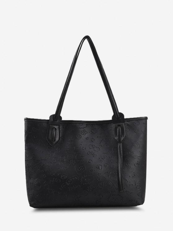 Niedliche Muster Geprägte Doppelte Griff Tasche - Schwarz