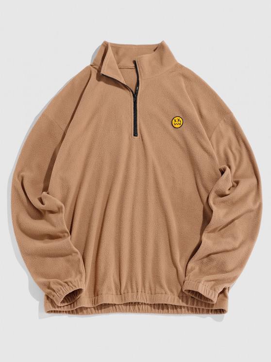 ZAFUL Face Patch Polar Fleece A-quater Zipper Sweatshirt - قهوة S