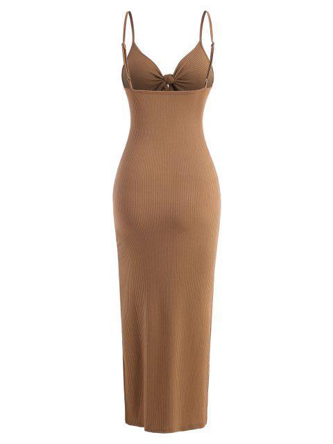 Maxi Vestido Escotado con Nudo Lateral - Café S Mobile