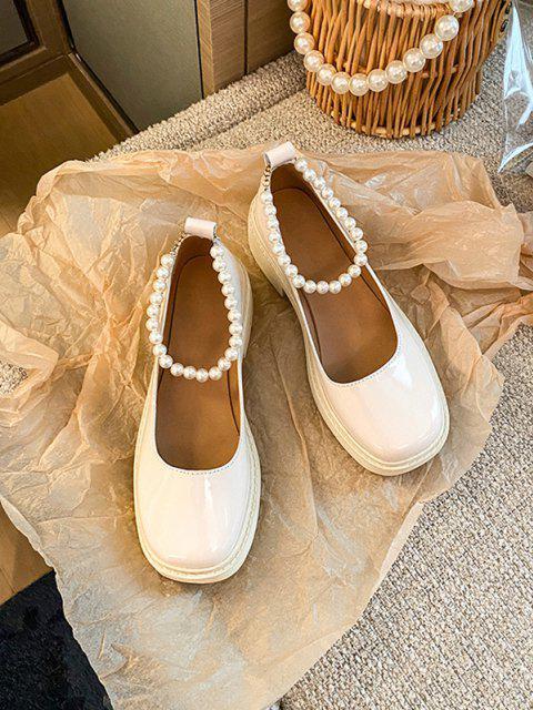 Künstliche Perle Knöchelriemen Schuhe - Warmweiß EU 37 Mobile