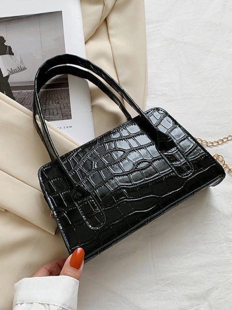 Geprägte Umhängetasche mit Doppeltem Kreisgriff - Schwarz  Mobile