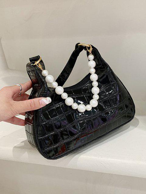 Einfarbige Künstliche Perle Geprägte Umhängetasche - Schwarz  Mobile