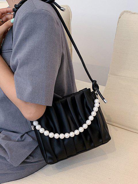 Verknotetes Künstliche Perlen Kette Umhängetasche - Schwarz  Mobile