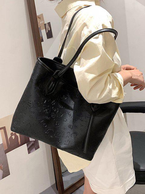 Niedliche Muster Geprägte Doppelte Griff Tasche - Schwarz  Mobile