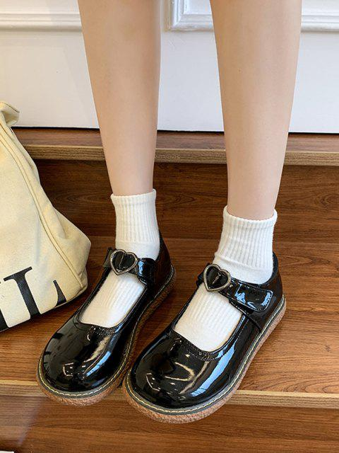 Flache Schuhe mit Herz Schnallenriemen - Spiegel Schwarz EU 37 Mobile