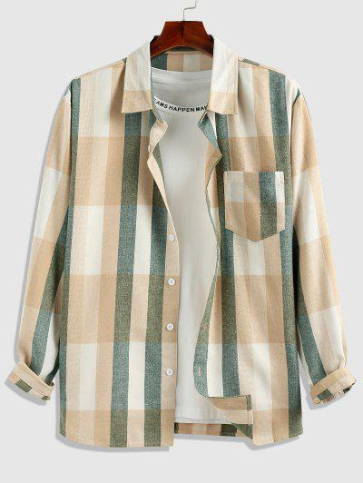ZAFUL Contrast Stripe Long Sleeve Shirt - Light Coffee Xl