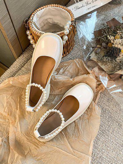 Zapatos Imitación Cuero Correa Al Tobillo Perlas - Blanco Cálido Eu 40