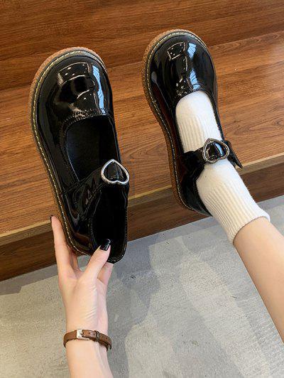 Heart Buckle Strap Flat Bar Shoes - Mirror Black Eu 40