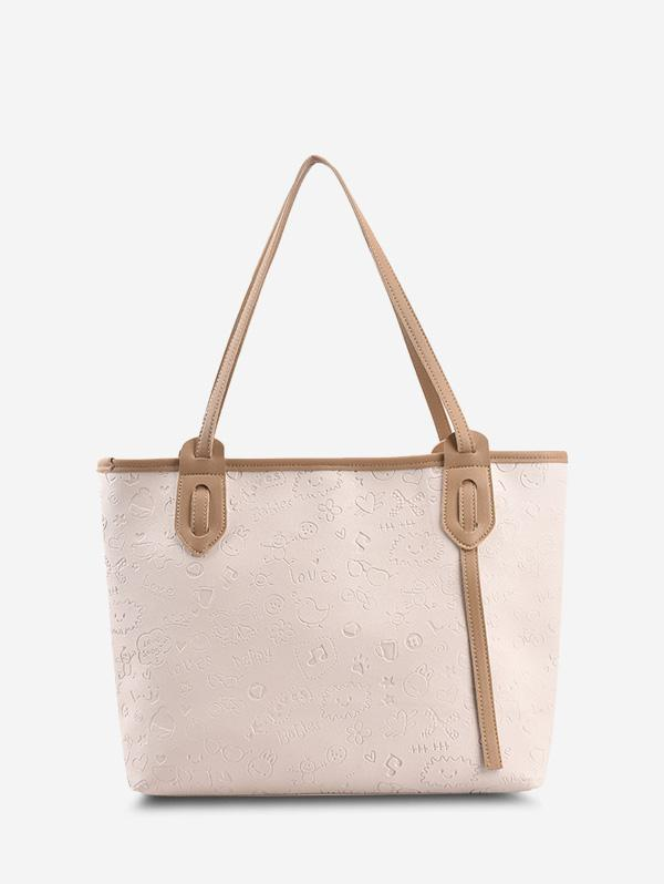 Cute Pattern Embossed Double Handle Tote Bag