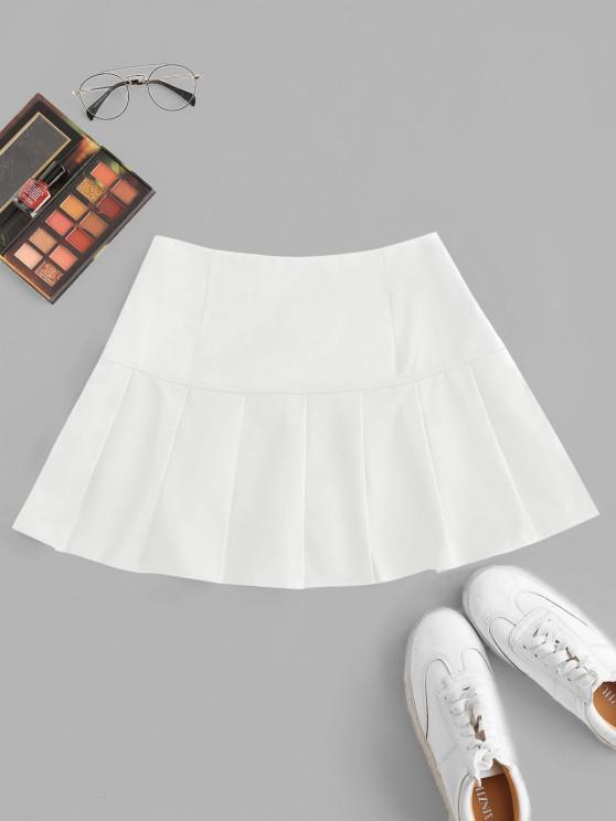 shop Side Zipper Solid Pleated Mini Skirt - WHITE S