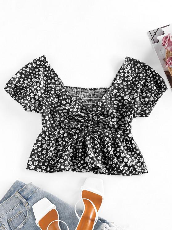 women ZAFUL Ditsy Print Smocked Cinched Peplum Blouse - BLACK S