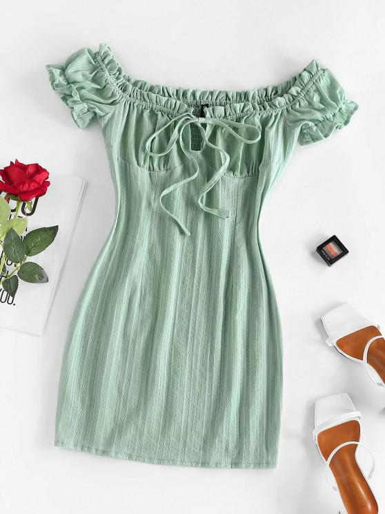 chic ZAFUL Off The Shoulder Puff Sleeve Smocked Bodycon Dress - LIGHT GREEN M