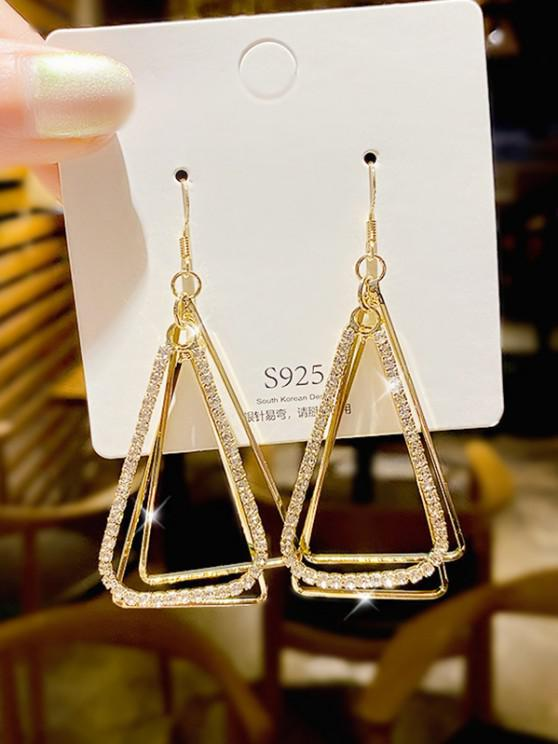 Gold-Tone Rhinestone Triangle Dangle Earrings - ذهبي