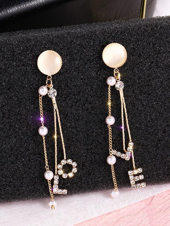 Faux Opal Rhinestone-Inlaid Letter Linear Drop Earrings - ذهبي
