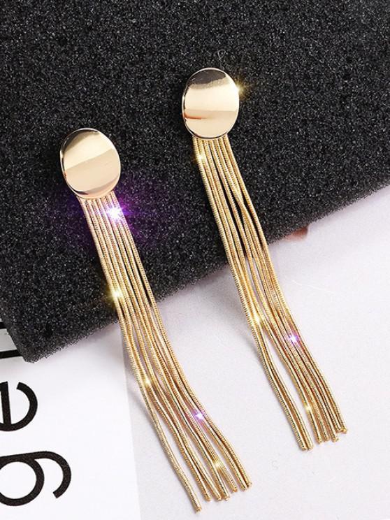 Zweifärbiges Linear Quaste Baumelnde Ohrringe - Golden