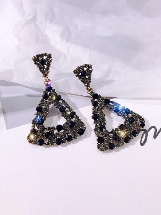Rhinestone Cut-Out Triangle Stud Drop Earrings - أسود