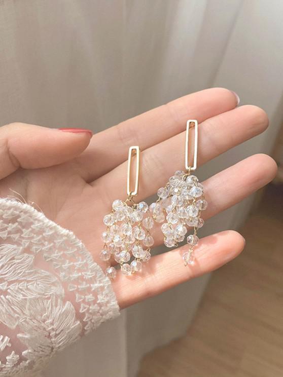 Faux Crystal Beading Silver Stud Drop Earrings - ذهبي