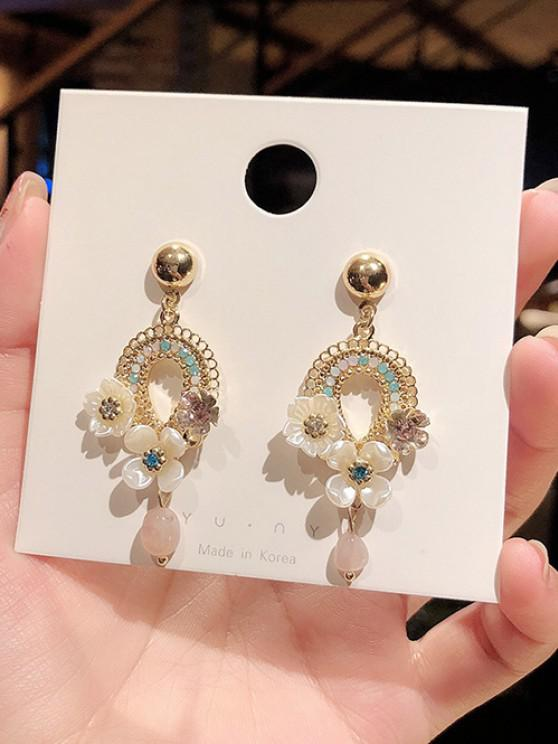 Hollow Out Floral Drop Earrings - ذهبي