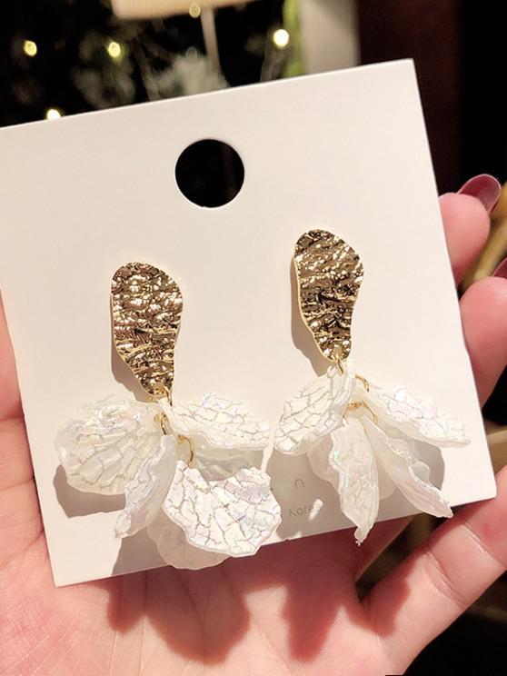Gold-Tone Flower Petal Stud Drop Earrings - ذهبي