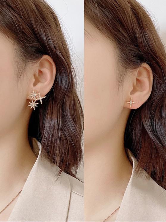 lady Asymmetrical Rhinestone-Inlaid Star Stud Earrings - GOLDEN