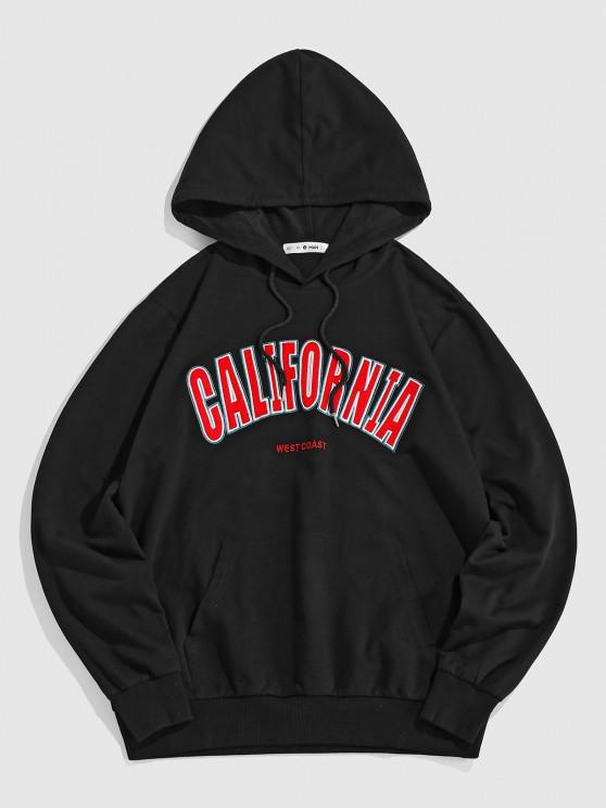 ZAFUL CALIFORNIA Embroidered Kangaroo Pocket Hoodie - أسود L