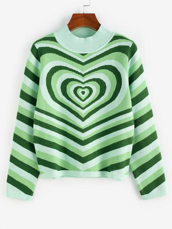 ZAFUL Herz Streifen Stehkragen Pullover - Hellgrün M