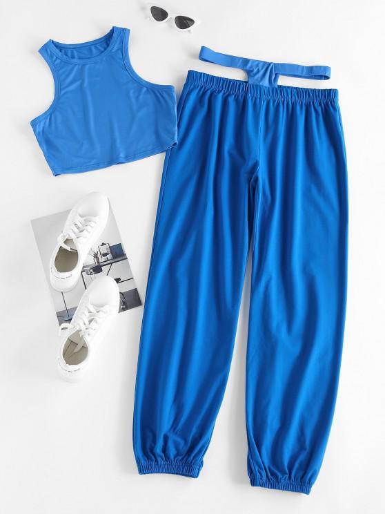 ZAFUL Crop Tank Top and Midriff Cutout Matching Pants Set - أزرق XL