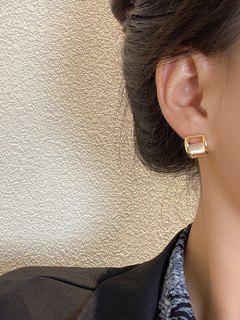 Faux Opal Embellished Square Stud Earrings - Golden