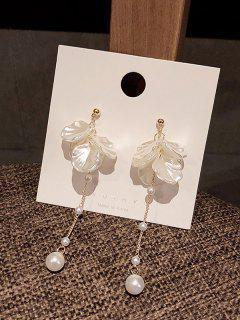 Flower Petal Faux Pearl Dangle Earrings - Golden