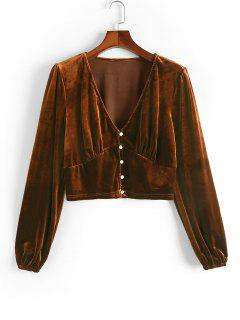 ZAFUL Plus Size Long Sleeve Velvet Button Up Top - Coffee L