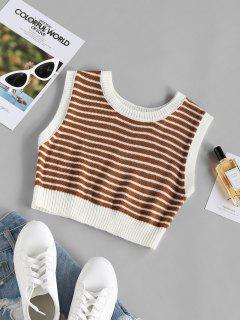 ZAFUL Striped Crop Sweater Tank Top - Coffee S