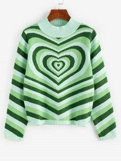 ZAFUL Heart Striped Mock Neck Jumper Sweater - Light Green L