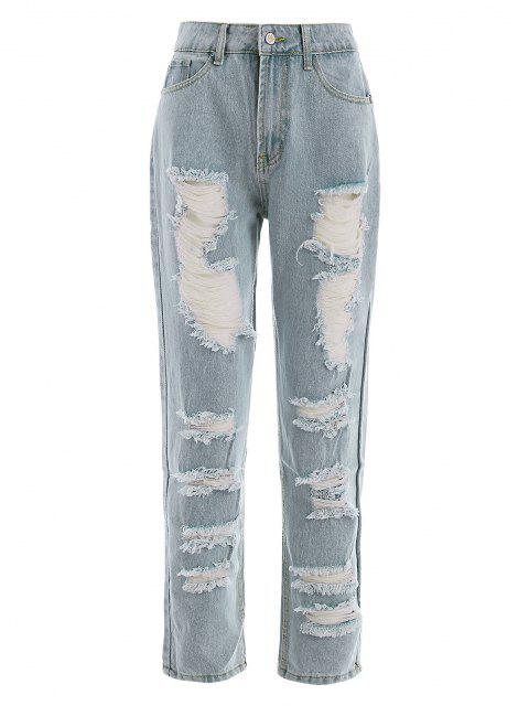 fancy Ripped Light Wash Pencil Pocket Jeans - LIGHT BLUE S Mobile