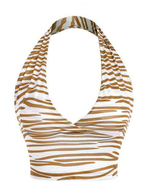 fancy Halter Zebra Print Backless Crop Top - COFFEE M Mobile