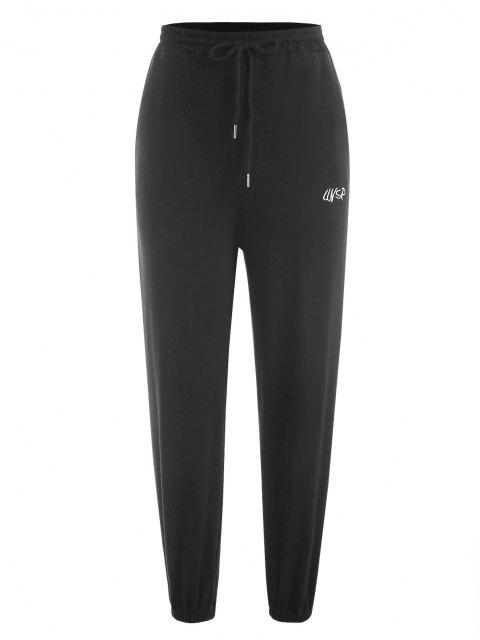 fancy Drawstring Embroidered Jogger Sweatpants - BLACK ONE SIZE Mobile
