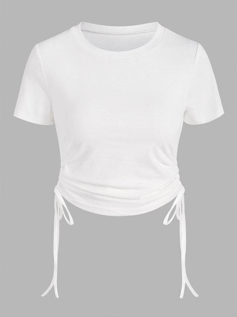 fashion Cinched Side Short Sleeve T Shirt - WHITE L Mobile