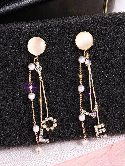 Künstliche Opal Strass Intarsien Buchstabe Linear Ohrringe - Golden  Mobile